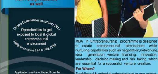 MBA in Entrepreneurship from University of Moratuwa