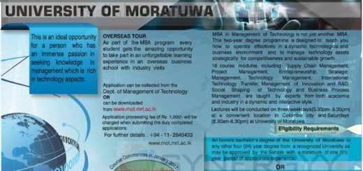 MBA in Management of Technology from University of Moratuwa