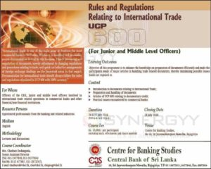 Rules & Regulations Relating to International Trade UCP 600 by Centre for Banking Studies