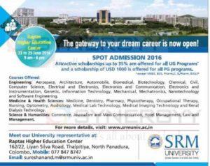 SRM University – Spot Admission 2016