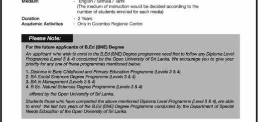The Open University of Sri Lanka Bachelor of Education – Application call now