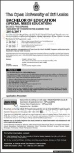 The Open University of Sri Lanka Bachelor of Education – Application call now