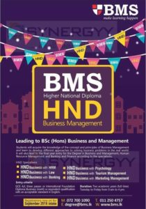 Higher National Diploma in Business Management from BMS