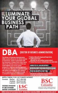 DBA (Doctor of Business Administration) from BSC Colombo