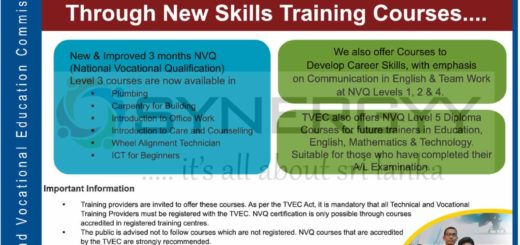Sri Lanka Government training Courses for Plumbing, Carpentry, Office works, care & conuselling, wheel alignment and ICT