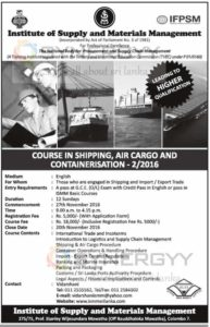 Course in Shipping, Air Cargo and Containerization - 22016