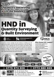 HND in Quantity Surveying & Built Environment – ICBT Campus for November 2016 enrollment