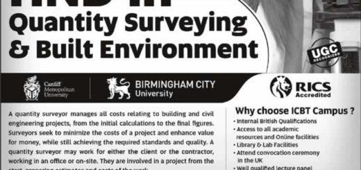 HND in Quantity Surveying & Built Environment – ICBT Campus for November 2016 enrollment