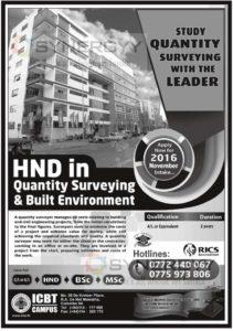 HND in Quantity Surveying & Built Environment November 2016 Enrollment