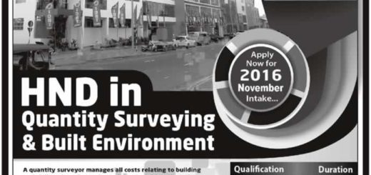 HND in Quantity Surveying & Built Environment November 2016 Enrollment