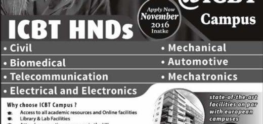 Higher National Diploma Programme from ICBT Campus for November 2016 Enrollment