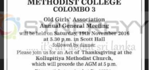 Methodist College Colombo 3 - Old Girls' Association Annual General Meeting