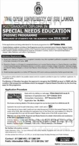 Postgraduate Diploma in Special Needs Education (PGDSNE) Programme for 20162017