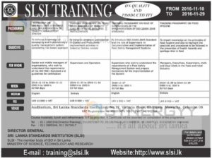Sri Lanka Standards Institutions Training – From 10112016 to 29112016