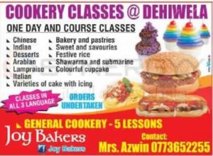 Cookery Classes at Dehiwela by Mrs. Azwin