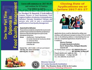 Diploma in Food Quality Management