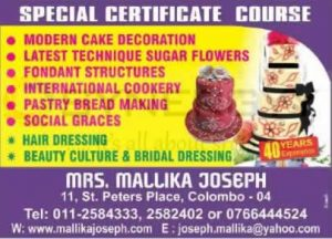 Mallika Joseph Cookery and Bakery classes in Colombo
