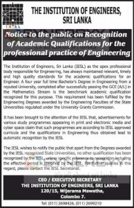 Academic Qualification for the Professional Practice of Engineering -The institution of engineers,