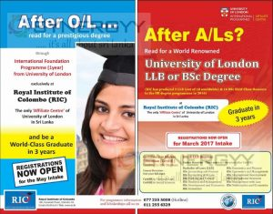 After O/L and AfterA/L Degree Programmes from Royal Institute of Colombo