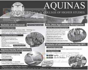 Aquinas College of Higher Studies – Degree Programme