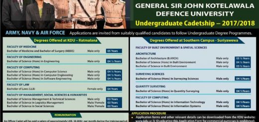 General Sir John Kotelawala Defence University Degree Programme – Application calls Now