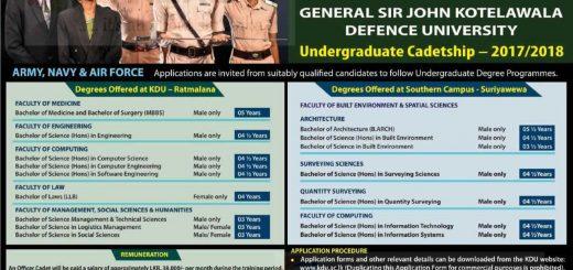 General Sir John Kotelawala Defence University Degree Programme – Application calls Now