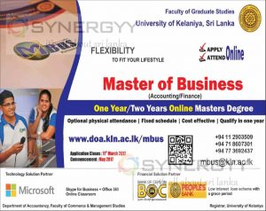 Master of Business (Accounting Finance) Online degree by University of Kelaniya