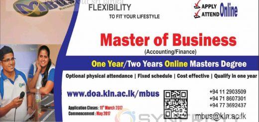 Master of Business (Accounting Finance) Online degree by University of Kelaniya