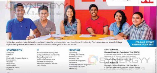 Monash College Foundation or Diplomas in Sri Lanka – Universal College Lanka