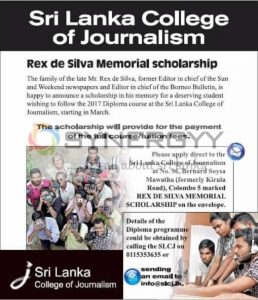 Sri Lanka College of Journalism - Rex de Silva Memorial scholarship