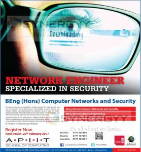 BEng (Hons) Computer Networks and Security from APIIT School of Computing