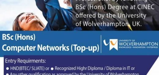 BSc (Hons) Computer Networks (Top-up Degree) programme from CINEC Campus
