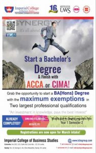 Imperial College of Business Studies BA (Hons) Degree programme for CIMA or ACCA Students