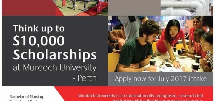 Murdoch University AUS$ 10,000 Scholarship – 22nd to 28th March 2017
