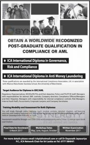 Post Graduate Diploma in Compliance and Anti Money Laundering by ICA Networks Sri Lanka