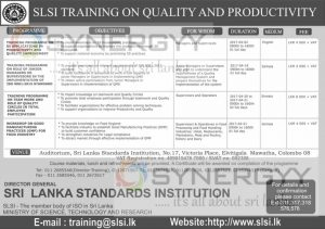 SLSI Training on Quality and Productivity – Application calls now