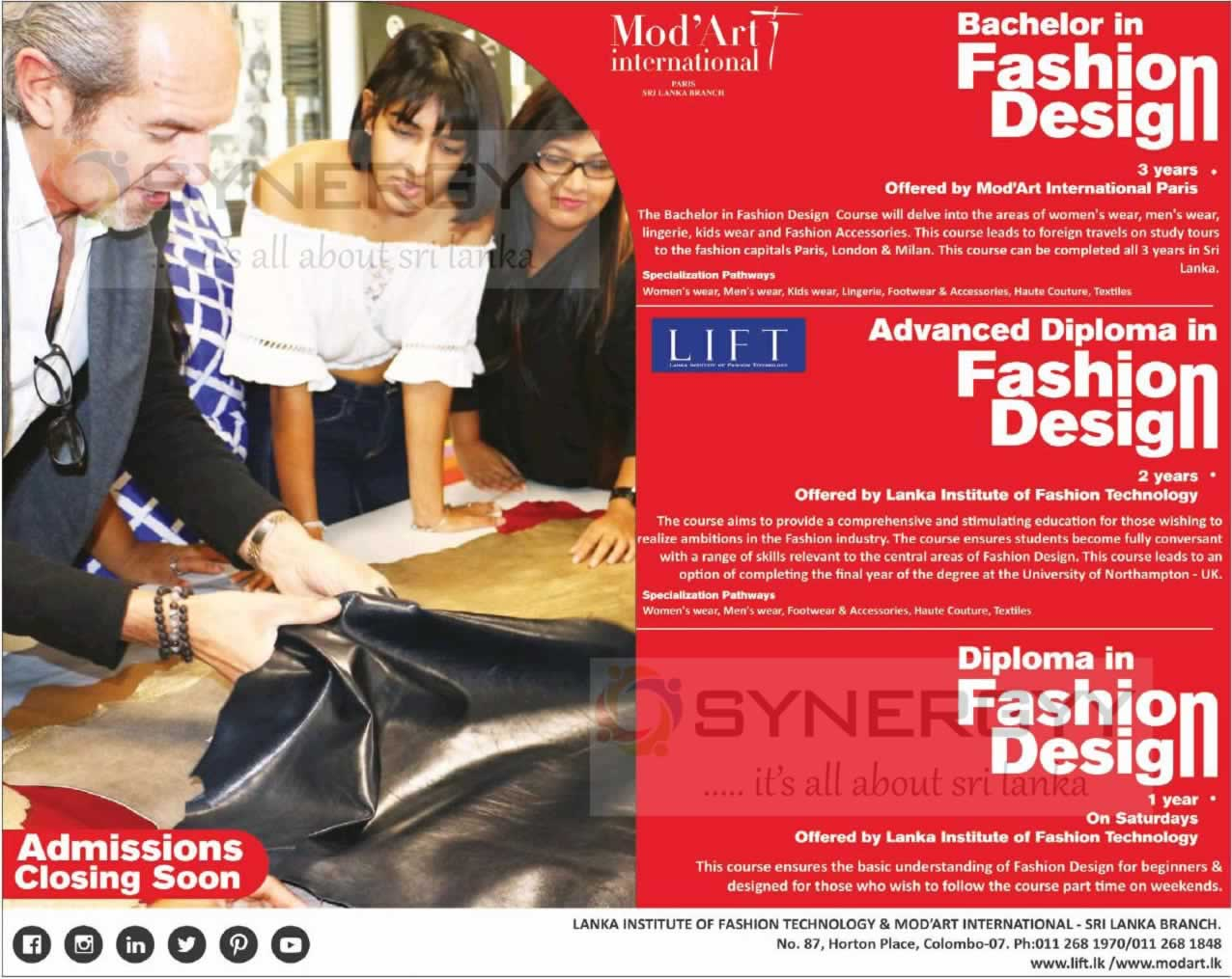 Diploma Advance Diploma And Fashion Designing Degree Programme By Lanka Institute Of Fashion Technology Modart International Education Synergyy